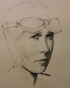 portrait au fusain d'Amelia Earhart