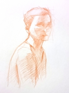 croquis sanguine autoportrait