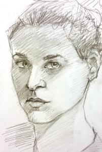 croquis graphite autoportrait