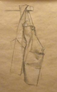 croquis fusain drapé tablier de peintre