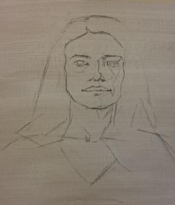 étude de portrait à l'huile-esquisse