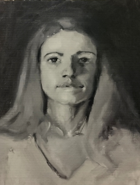 étude de portrait à l'huile